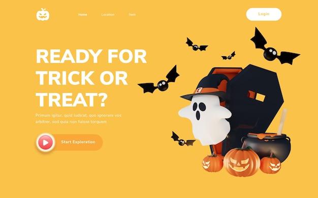 Halloweenowa strona docelowa z ilustracją renderowania 3d