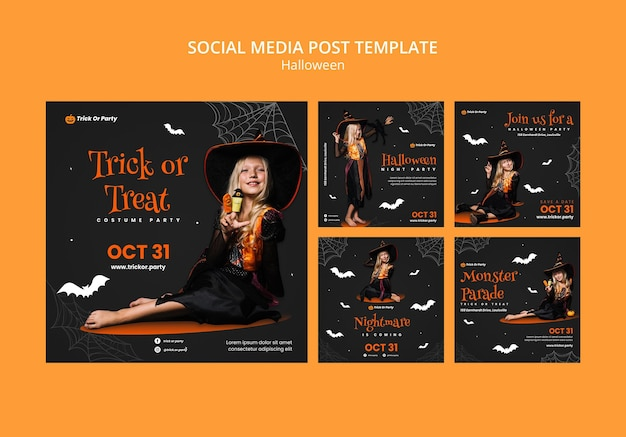 Halloweenowa sztuczka lub psikus post w mediach społecznościowych