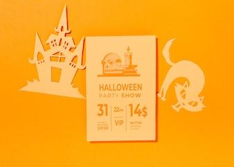 Halloweenowy okładkowy mockup na pomarańczowym tle