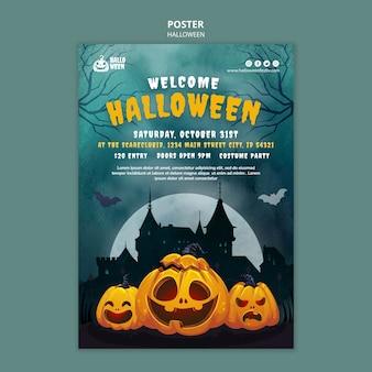 Halloweenowy pionowy szablon wydruku z dynią
