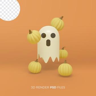 Halloweenowy rendering 3d z 3d duchową ilustracją