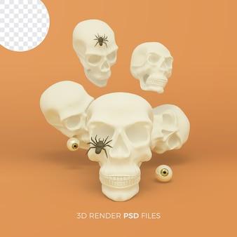Halloweenowy rendering 3d z ilustracją czaszki i pająka