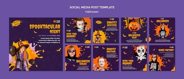 Halloweenowy szablon postu w mediach społecznościowych