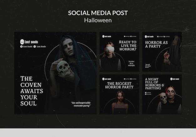 Halloweenowy szablon projektu postów w mediach społecznościowych