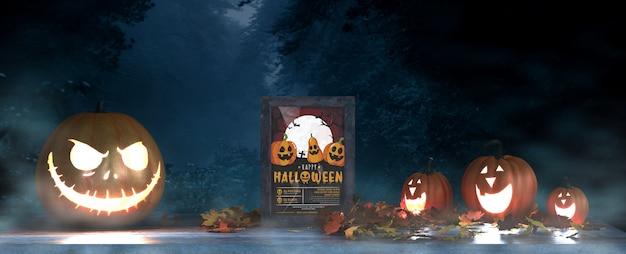 Halloweenowy układ z przerażającymi dyniami i makietą ramy