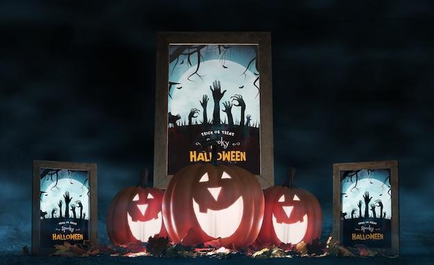 Halloweenowy układ z uśmiechniętymi dyniami i plakatami filmowymi