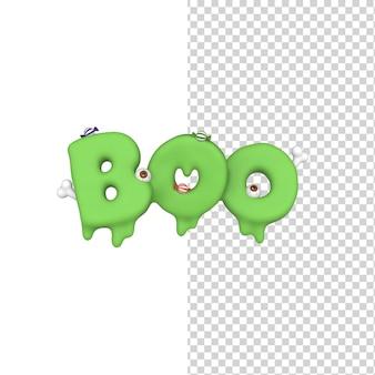 Happy halloween boo ociekający tekstem i napisem z oczami cukierkami i kośćmi model renderowania 3d