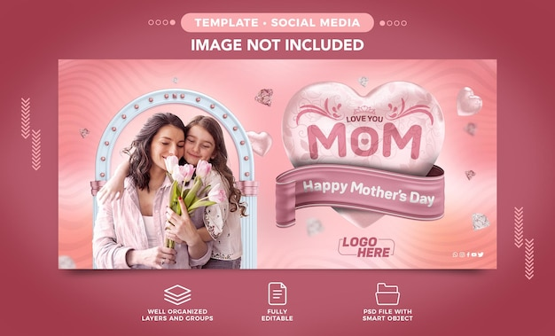 Happy mothers day facebook banner social media z edytowalnym tekstem