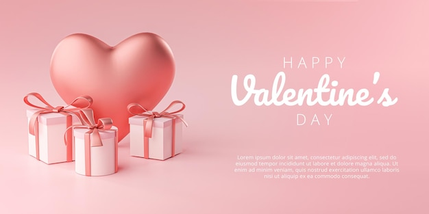 Happy valentine's day banner greeting card big heart shape i gift box rendering 3d