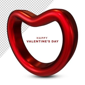 Happy valentine's day red love 3d renderowania na białym tle