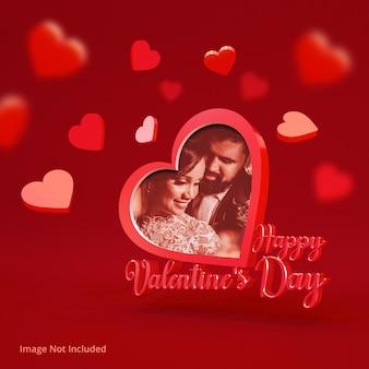 Happy valentine's day shaped photo frame mockup