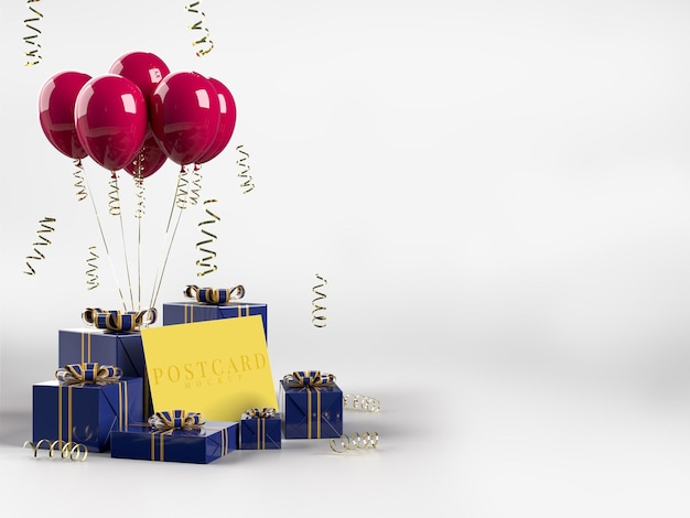 Happy valentines day celebration party z dekoracjami na pudełko