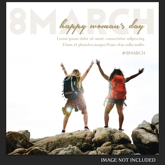 Happy woman's day i 8 marca greeting instagram post template