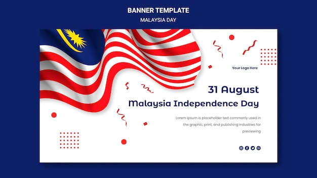 Hari merdeka szablon sieci web banner niepodległości malezji