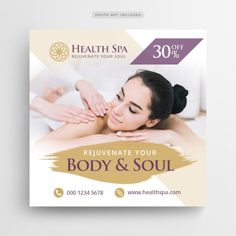 Health spa post banner lub square flyer szablon