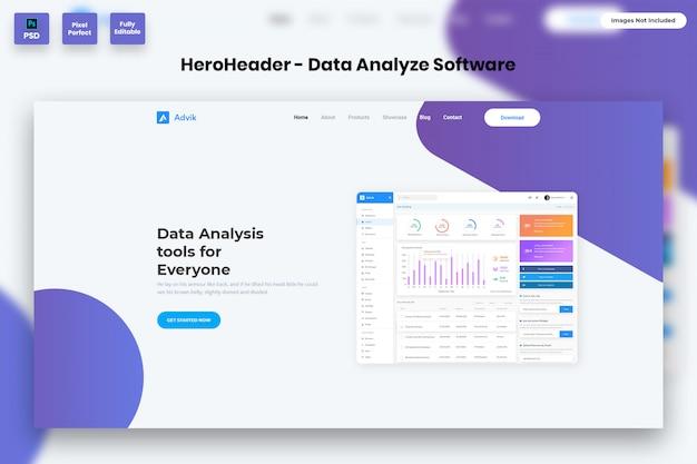 Hero header dla witryn internetowych z oprogramowaniem do analizy danych