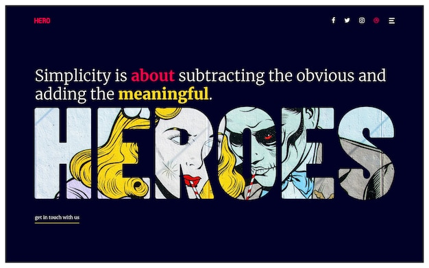Hero header minimalna typografia