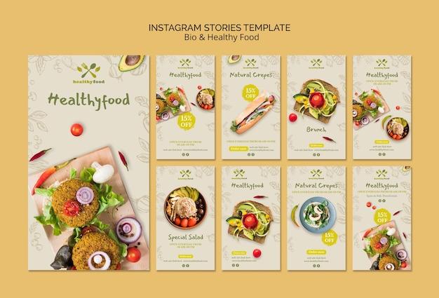 Historie instagram zdrowego i bio szablonu żywności