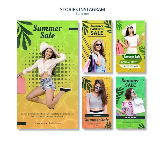 Historie letnia wyprzedaż na instagramie
