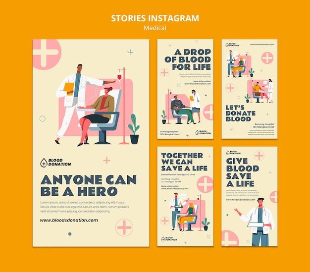 Historie na instagramie dotyczące oddawania krwi