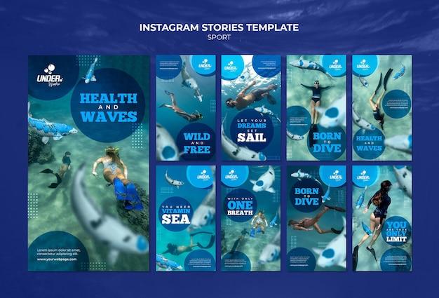 Historie na instagramie dotyczące szkolenia nurkowego