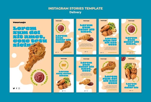 Historie na instagramie dotyczące usług dostawy