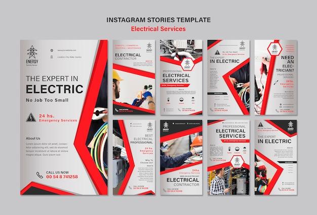 Historie na instagramie dotyczące usług elektrycznych