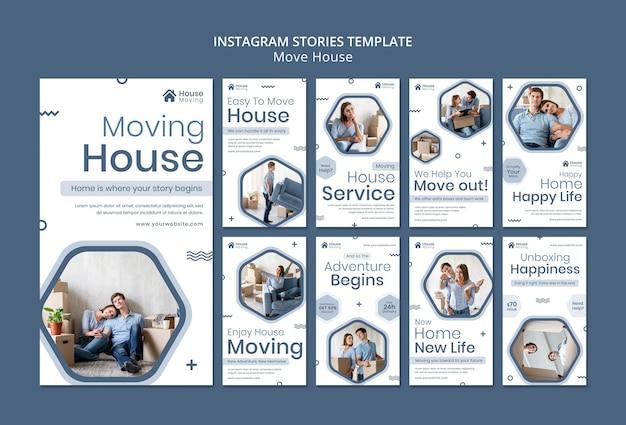 Historie na instagramie dotyczące usług przeprowadzania domów