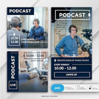 Historie na instagramie i kanał informacyjny dla szablonu podcastu