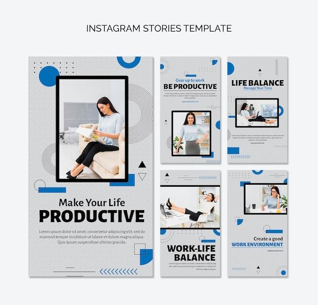 Historie na instagramie koncepcja produktywności