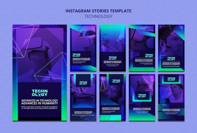 Historie na instagramie o technologii gradientowej