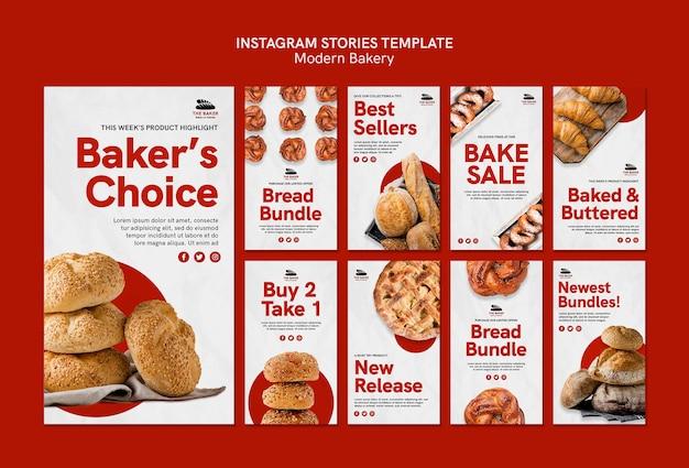 Historie na instagramie ustawione dla biznesu gotowania chleba