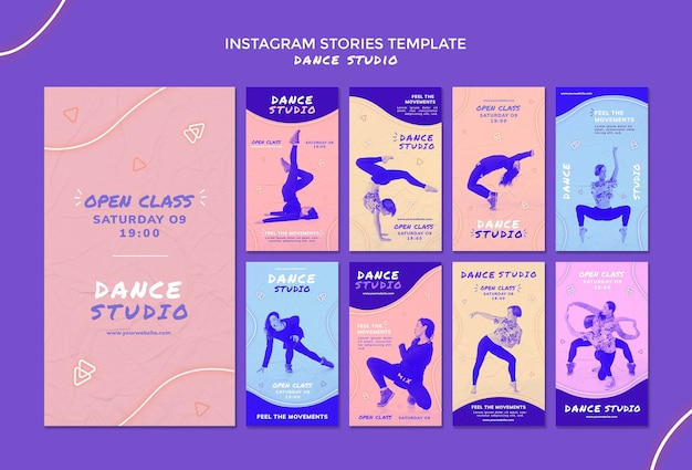 Historie na instagramie w studiu tańca
