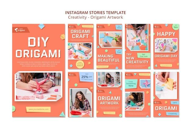 Historie na instagramie z grafiką origami