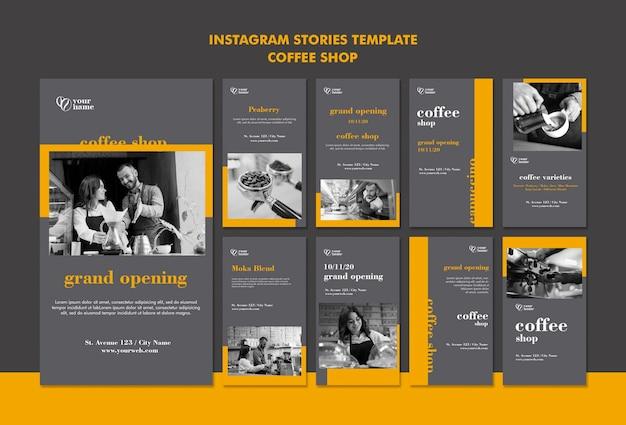 Historie na instagramie z kawiarni