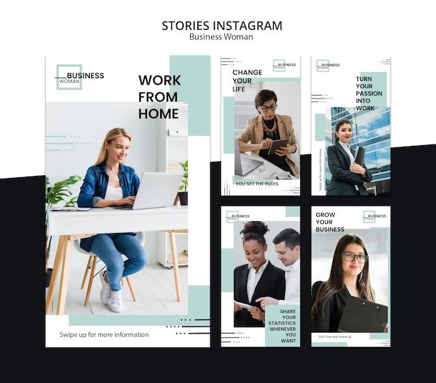 Historie na instagramie z koncepcją kobiety biznesu