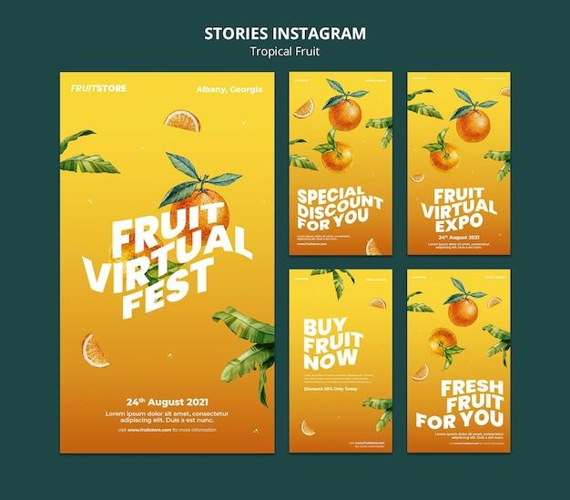Historie na instagramie z owocami tropikalnymi