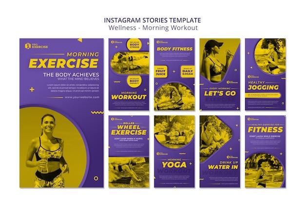 Historie na instagramie z porannym treningiem wellness