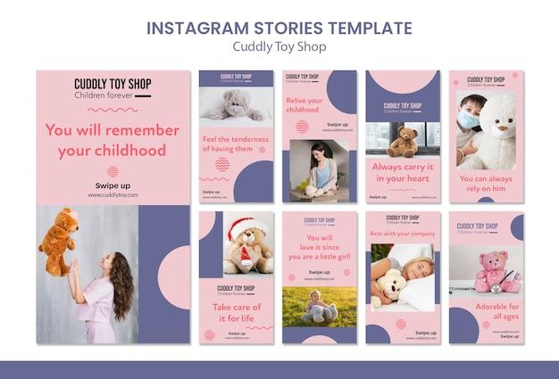 Historie na instagramie z przytulnymi zabawkami