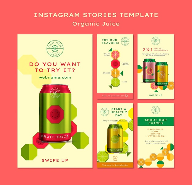Historie na instagramie z sokami organicznymi