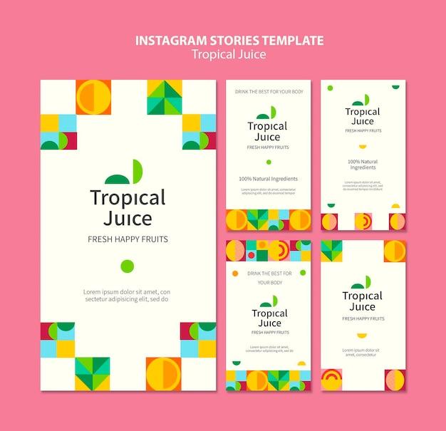 Historie na instagramie z sokiem tropikalnym