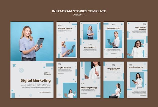 Historie na instagramie z szablonami reklam biznesowych