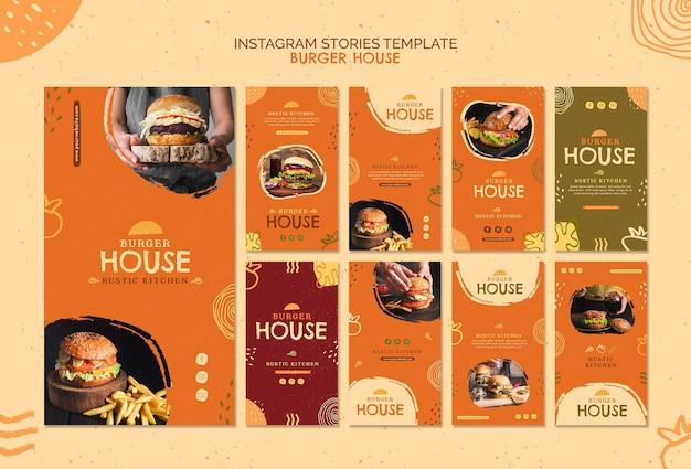 Historie na instagramie z szablonem burger house
