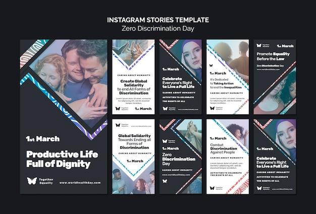 Historie na instagramie z wydarzeniami w dniu zerowej dyskryminacji