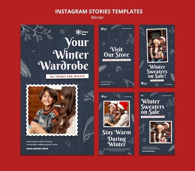 Historie na instagramie z zimową garderobą