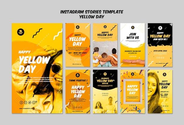 Historie na instagramie z żółtym szablonem dnia