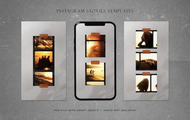 Historie na instagramie ze starymi szablonami w stylu vintage