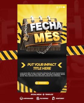 Historie szablonów mediów społecznościowych zamykają miesięczne sklepy promocyjne w ogólnej kampanii w brazylii