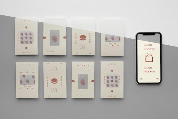 Historie w mediach społecznościowych i makieta smartfona