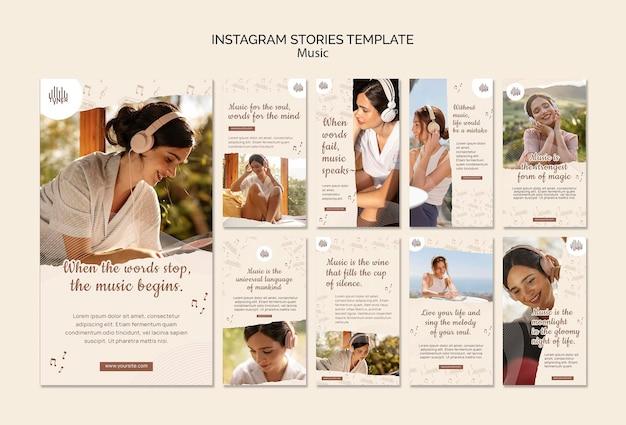 Historie w mediach społecznościowych o aplikacji muzycznej